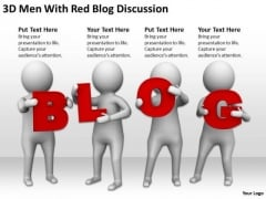 People Business 3d Men With Red Blog Discussion PowerPoint Templates Ppt Backgrounds For Slides