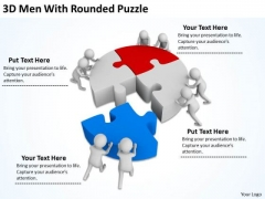 People Business 3d Men With Rounded Puzzle PowerPoint Templates Ppt Backgrounds For Slides