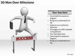 People In Business 3d Man Over Milestone PowerPoint Templates