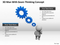 People In Business 3d Man With Gears Thinking Concept PowerPoint Slides