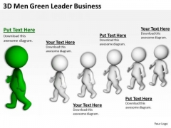 People In Business 3d Men Green Leader World PowerPoint Templates
