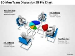 People In Business 3d Men Team Discussion Of Pie Chart PowerPoint Templates