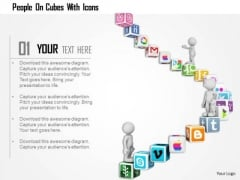 People On Cubes With Icons PowerPoint Templates
