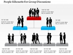 People Silhouette For Group Discussions PowerPoint Template