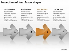 Perception Of Four Arrow Stages Free Business Plans For Small PowerPoint Templates