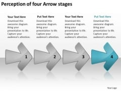 Perception Of Four Arrow Stages How To Design Business Plan PowerPoint Templates