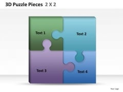 Perfect Fit 3d Puzzle Pieces 2x2 PowerPoint Slides And Ppt Diagram Templates