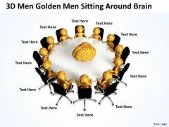 Pictures Of Business Men 3d Golden Sitting Around Brain PowerPoint Slides