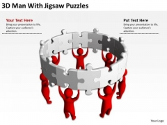 Pictures Of Business Men 3d Man With Jigsaw Puzzles PowerPoint Slides