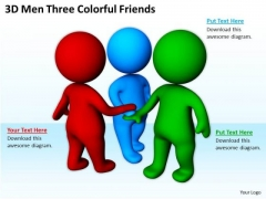 Pictures Of Business Men 3d Three Colorful Friends PowerPoint Slides