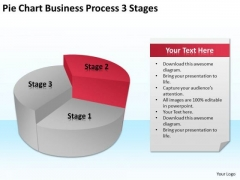 Pie Chart Business Process 3 Stages Ppt Plan Program PowerPoint Slides