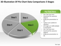 Pie Chart Data Comparisons 5 Stages Business Plan PowerPoint Templates