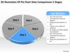 Pie Chart Data Comparisons 5 Stages Business Plan Templates PowerPoint Slides