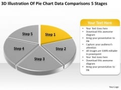 Pie Chart Data Comparisons 5 Stages Examples Small Business Plans PowerPoint Slides