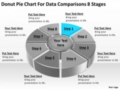 Pie Chart For Data Comparisons 8 Stages People Who Write Business Plans PowerPoint Slides