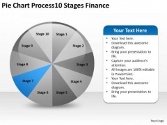 Pie Chart Process 10 Stages Finance Building Business Plan PowerPoint Slides