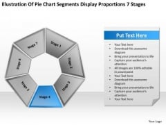 Pie Chart Segments Display Proportions 7 Stages Ppt Business Plans For Dummies PowerPoint Slides