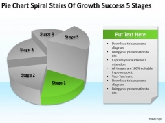 Pie Chart Spiral Stairs Of Growth Success 5 Stages Business Plan PowerPoint Slides