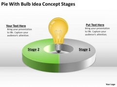 Pie With Bulb Idea Concept Stages Business Plan PowerPoint Slides