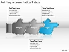 Pointing Representation 3 Steps Flowchart Tool PowerPoint Templates