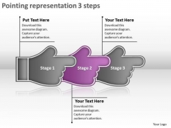 Pointing Representation 3 Steps Ppt Flowchart Tool PowerPoint Templates