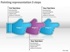 Pointing Representation 3 Steps Sample Process Flow Charts PowerPoint Slides