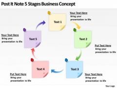 Post It Note 5 Stages Business Concept Ppt Non Profit Plan Template PowerPoint Slides