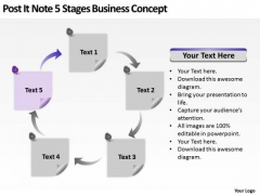 Post It Note 5 Stages Business Concept Ppt Plan PowerPoint Templates