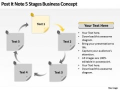 Post It Note 5 Stages Business Concept Ppt What Is Plan Template PowerPoint Slides