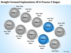 PowerPoint Arrow Straight Forward Explanations Of Process 5 Stages Template