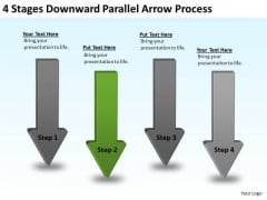 PowerPoint Arrows 4 Stages Downward Parallel Process Templates