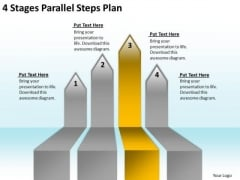 PowerPoint Arrows 4 Stages Parallel Steps Plan Slides