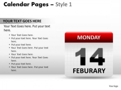PowerPoint Backgrounds Calendar 14 Feburary Graphic Ppt Design Slides