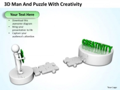PowerPoint Business 3d Man And Puzzle With Creativity Slides