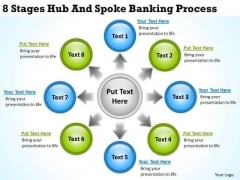 PowerPoint Business 8 Stages Hub And Spoke Banking Process Templates