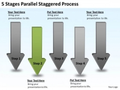 PowerPoint Circular Arrows 5 Stages Parallel Staggered Process Templates