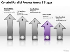 PowerPoint Circular Arrows Colorful Parallel Process 5 Stages Templates