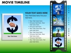 PowerPoint Design Business Strategy Targets Movie Timeline Ppt Design