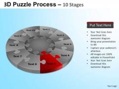 PowerPoint Design Sales Puzzle Segment Pie Chart Ppt Template