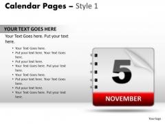 PowerPoint Design Slides Process Calendar 5 November Ppt Presentation Designs