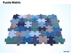 PowerPoint Design Teamwork 7x6 Rectangular Jigsaw Puzzle Matrix Ppt Theme