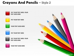 PowerPoint Designs Chart Crayons And Pencils Ppt Layout