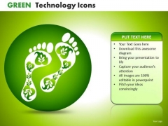 PowerPoint Environmentally Responsible Green Footprints Ppt Templates