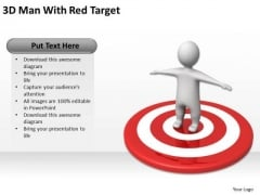 PowerPoint For Business 3d Man With Red Target 1 Templates