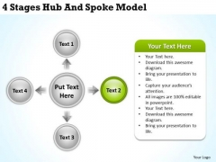 PowerPoint For Business 4 Stages Hub And Spoke Model Ppt Slides