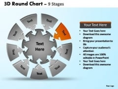 PowerPoint Layout Growth Pie Chart With Arrows Ppt Design