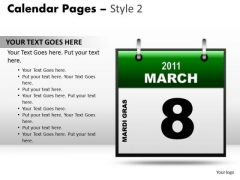 PowerPoint Layout Strategy Calendar 8 March Ppt Process