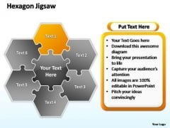 PowerPoint Layouts Teamwork Hexagon Jigsaw Ppt Slide