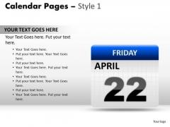 PowerPoint Presentation Calendar 22 April Diagram Ppt Design Slides