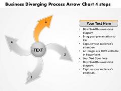 PowerPoint Presentation Diverging Process Arrow Chart 4 Steps Pie Templates